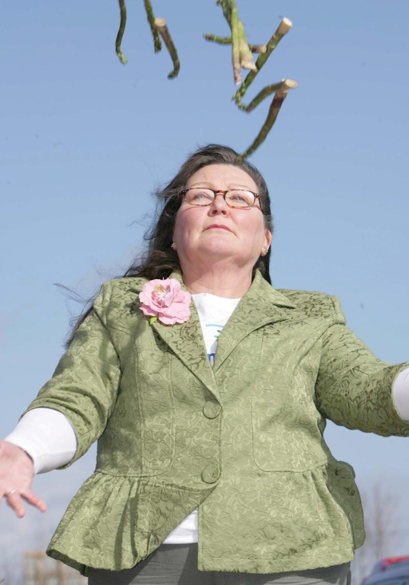 Jemima Packington, 61, claims she can peer into the future by tossing the veg in the air and interpreting how the spears land. [Photo: SWNS]