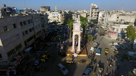 A general view taken with a drone shows the Clock Tower of the rebel-held Idlib city