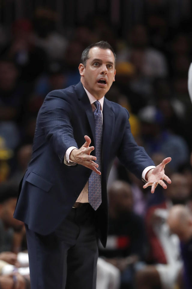 Los Angeles Lakers head coach Frank Vogel reacts after a foul in the second half of an NBA basketball game against the Atlanta Hawks, Sunday, Dec. 15, 2019, in Atlanta. (AP Photo/John Bazemore)