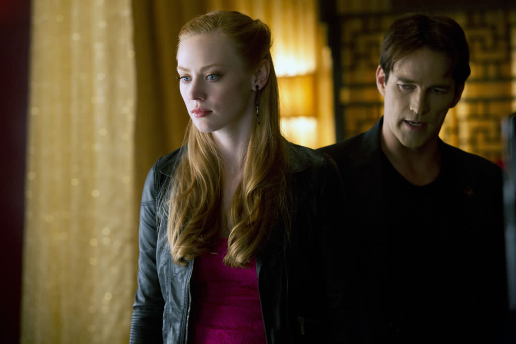 "Deborah Ann Woll and Stephen Moyer in the ""True Blood"" episode, ""Sunset."""