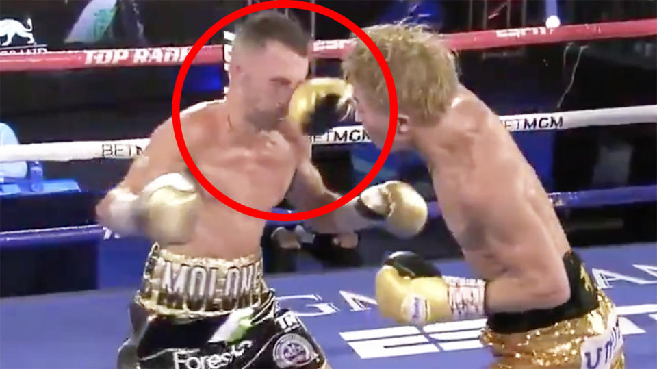Australian boxer Jason Moloney was brutally felled by this right hand shot from Japanese rival Naoya Inoue in their championship bout. Picture: Top Rank Boxing