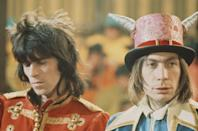 <p>Keith Richards (left) and Charlie Watts from The Rolling Stones pose on the set of the Rolling Stones Rock and Roll Circus at Intertel TV Studio in Wembley, London on 11th December 1968.</p>