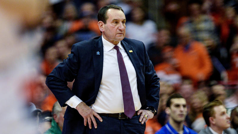 Duke head coach Mike Krzyzewski watches from the bench during the second half of an NCAA college basketball game against Syracuse in Syracuse, N.Y., Saturday, Feb. 1, 2020. Duke beat Syracuse 97-88. (AP Photo/Adrian Kraus)