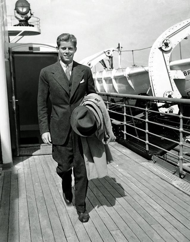 <p>John F. Kennedy arrives in New York, Sept. 8, 1938, aboard the SS Bremen after a summer vacation in Europe. Young Kennedy is returning to begin his junior year at Harvard. (Photo: AP) </p>