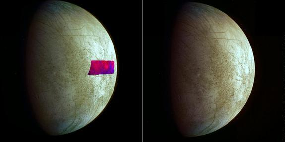 This image, using data from NASA's Galileo mission, shows the first detection of clay-like minerals on the surface of Jupiter's moon Europa. The clay-like minerals appear in blue in the false-color patch of data from NASA's Galileo spacecraft.