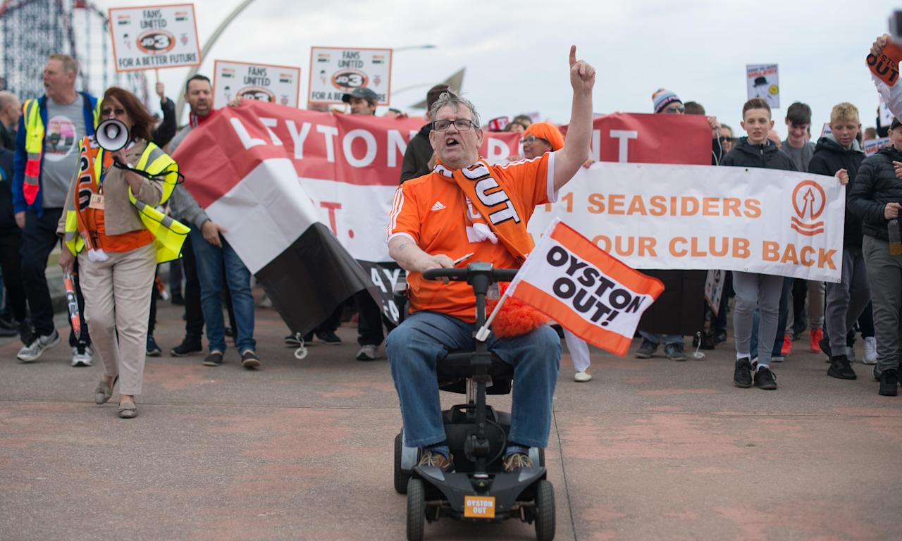 Blackpool and Leyton Orient fans joined forces in protest against their respective owners before the final League Two match of the season between their teams at Bloomfield Road in May.