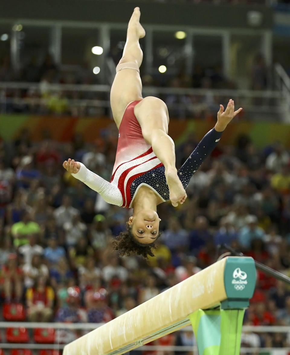 <p>Lauren Hernandez (USA) of the U.S. competes on the balance beam. REUTERS/Mike Blake </p>