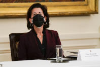 Secretary of Commerce Secretary Gina Raimondo attends a Cabinet meeting with President Joe Biden in the East Room of the White House, Thursday, April 1, 2021, in Washington. (AP Photo/Evan Vucci)