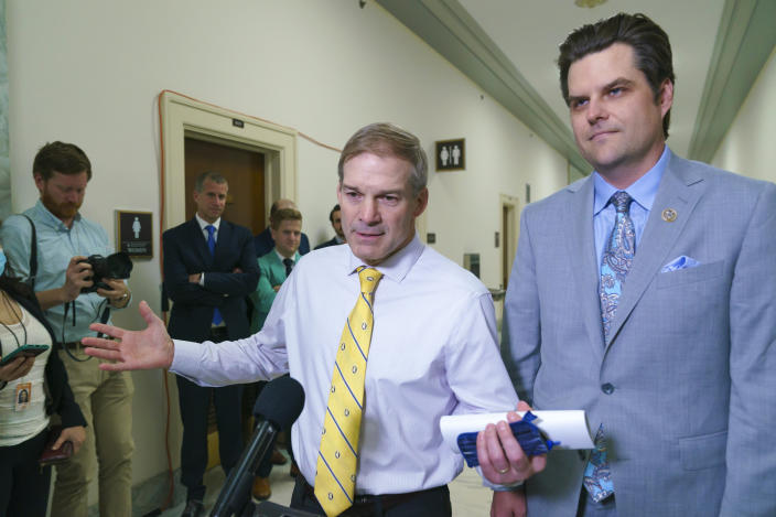 House Judiciary Committee members, Rep. Jim Jordan, R-Ohio, left, and Rep. Matt Gaetz, R-Fla., speak to reporters as they leave a closed-door session with former White House counsel Don McGahn, two years after House Democrats originally sought his testimony as part of investigations into former President Donald Trump, at the Capitol in Washington, Friday, June 4, 2021. (AP Photo/J. Scott Applewhite)