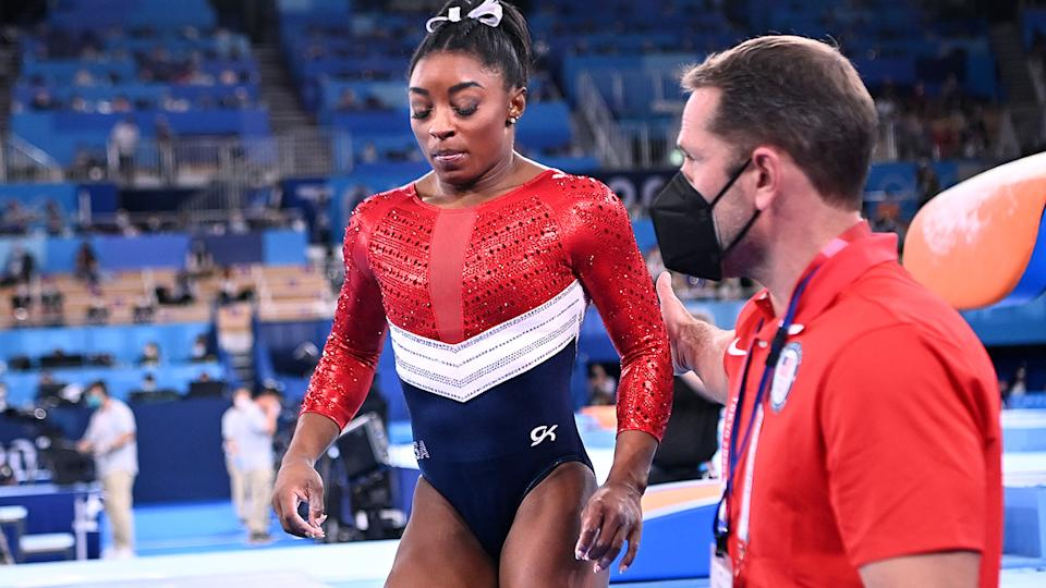 Simone Biles, pictured here after abruptly withdrawing after one vault.