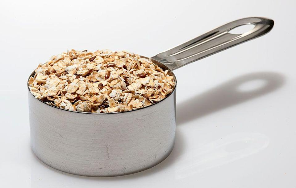 """<p>Because oatmeal is considered a healthy food, it benefits from having a health halo, but that may cause some people to eat too much of it, says Blatner. """"Instead of having 1 cup cooked, they'll double it and start off with one cup dry.""""</p><p>The appropriate serving size will depend on your current run or training volume and your personal needs. But in general, stick to a half-cup of dry rolled oats as one serving size. That comes out to 150 calories, leaving about another 150 for your toppings for a filling breakfast that doesn't turn into a calorie bomb. That way, you can scale that up or down for increased or decreased training.</p><p>""""The other thing I find is that people don't have the ratio right,"""" says Blatner. She suggests one part oats to two parts liquid for the rolled variety, and one part oats to three parts liquid for steel cut. </p>"""