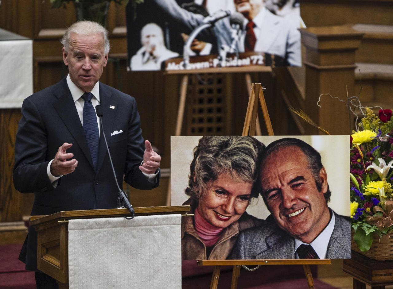 Vice President Joe Biden speaks at a prayer service for former Democratic U.S. senator and three-time presidential candidate George McGovern at the First United Methodist Church in Sioux Falls, S.D., Thursday, Oct. 25, 2012. McGovern died Sunday in his native South Dakota at age 90. (AP Photo/Nati Harnik)