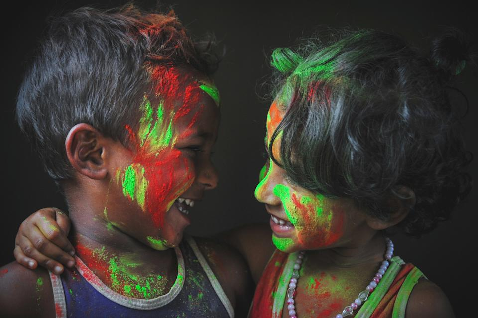 """@rafayat explains the origins of the Holi festival traditions:""""Holi is the festival of colors: it's a time when friends come together and let all their differences sink in the colors. Bangladesh is a country where the Hindus are a minority community, although as it is a land of multicultural diaspora the Hindus celebrate Holi embracing their muslim brothers: it is a time when all disputes are forgotten in the myriads of gulal or colored powders."""" [Photo: SWNS]"""