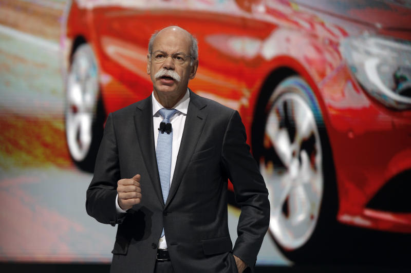 Chairman of Daimler AG  Dieter Zetsche, of Germany, delivers a speech to present the the new A 45 AMG model car during the first media day of the 83rd Geneva International Motor Show, Switzerland, Tuesday, March 5, 2013. The Motor Show will open its gates to the public from March 7 to 17.  (AP Photo/Laurent Cipriani)