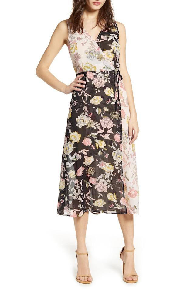 """<p>This <a href=""""https://www.popsugar.com/buy/Leith-Floral-Mix-Faux-Wrap-Dress-488295?p_name=Leith%20Floral%20Mix%20Faux%20Wrap%20Dress&retailer=shop.nordstrom.com&pid=488295&price=34&evar1=fab%3Aus&evar9=45941928&evar98=https%3A%2F%2Fwww.popsugar.com%2Ffashion%2Fphoto-gallery%2F45941928%2Fimage%2F46585384%2FLeith-Floral-Mix-Faux-Wrap-Dress&list1=shopping%2Cnordstrom%2Cdresses%2Cspring%20fashion%2Csale%20shopping&prop13=mobile&pdata=1"""" rel=""""nofollow"""" data-shoppable-link=""""1"""" target=""""_blank"""" class=""""ga-track"""" data-ga-category=""""Related"""" data-ga-label=""""https://shop.nordstrom.com/s/leith-floral-mix-faux-wrap-dress-regular-plus-size/5201515?origin=category-personalizedsort&amp;breadcrumb=Home%2FSale%2FWomen%2FClothing%2FDresses&amp;color=black%20mixed%20floral"""" data-ga-action=""""In-Line Links"""">Leith Floral Mix Faux Wrap Dress </a> ($34, originally $69) is an incredible deal.</p>"""
