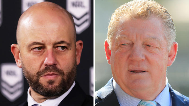 Todd Greenberg (pictured left) during a press conference and Phil Gould (pictured right).