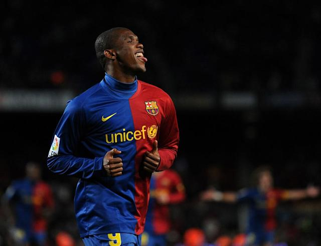 BARCELONA, SPAIN - JANUARY 24: Samuel Eto'o of Barcelona celebrates scoring his sides second goal during the La Liga match between Barcelona and Numancia at the Camp Nou Stadium on January 24, 2009 in Barcelona, Spain. Barcelona won the match 4-1. (Photo by Jasper Juinen/Getty Images)