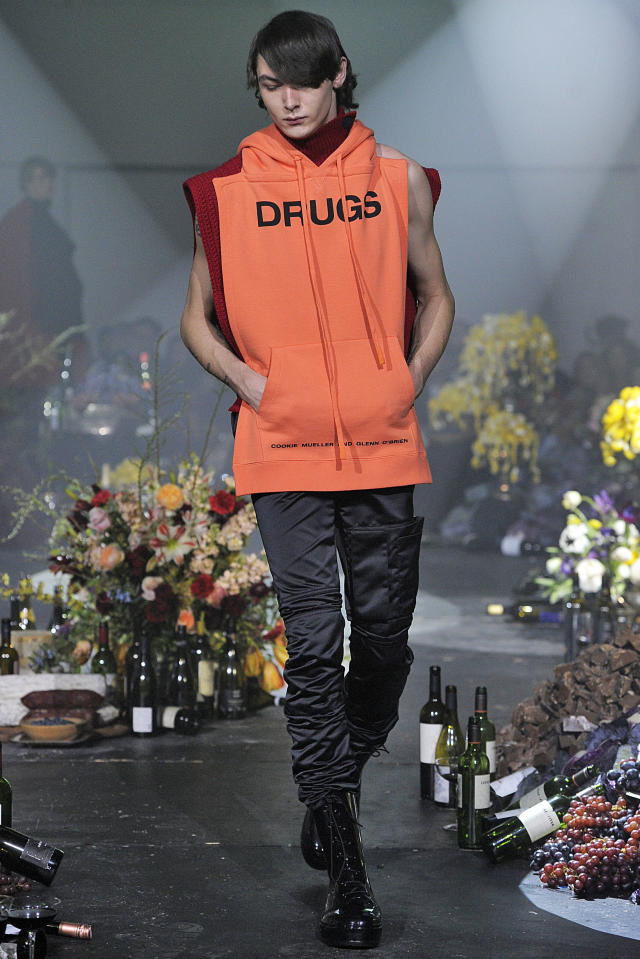 Just in case you didn't get the message at the Raf Simons runway. (Photo: Getty Images)