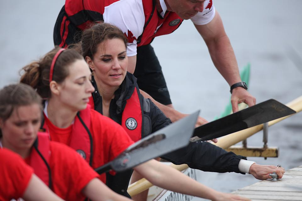 The Duchess of Cambridge rows in a dragon boat across Dalvay lake in Charlottetown, Prince Edward Island, Canada. ........NO SALES to Landov picture Agency