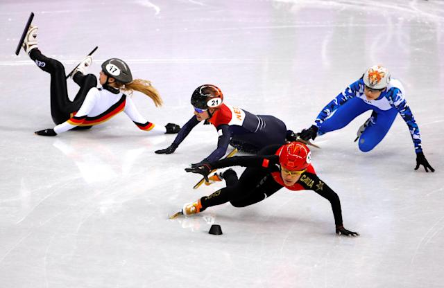 "Short Track Speed Skating Events - Pyeongchang 2018 Winter Olympics - Women's 1000m Competition - Gangneung Ice Arena - Gangneung, South Korea - February 20, 2018. Jinyu Li of China and Olympic Athlete from Russia Sofia Prosvirnova in action as Yara Van Kerkhof of the Netherlands and Anna Seidel of Germany fall. REUTERS/Phil Noble SEARCH ""OLYMPICS BEST"" FOR ALL PICTURES. TPX IMAGES OF THE DAY."