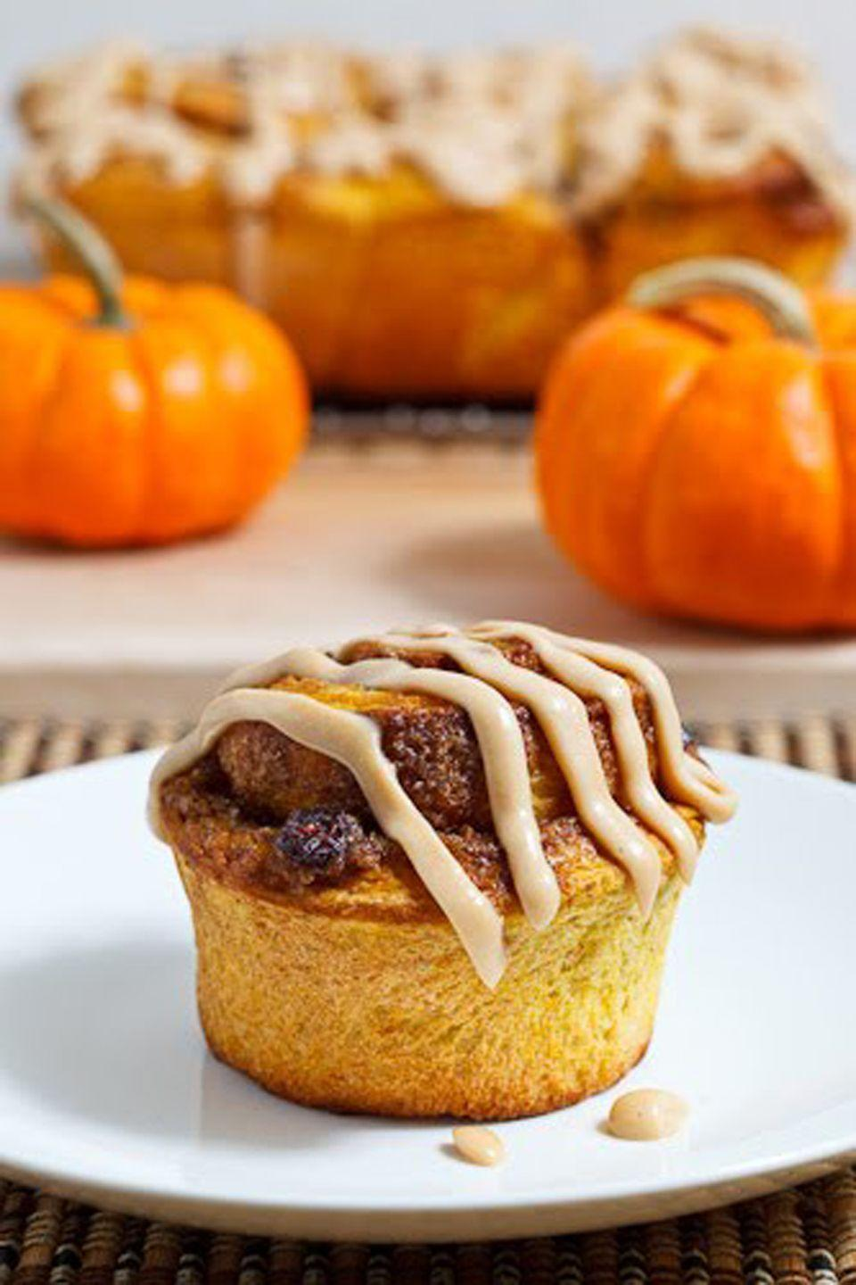 """<p>Add pumpkin puree to your favorite cinnamon bun recipe, and top it off with caramel cream cheese frosting for a breakfast-ready twist on your favorite Thanksgiving dessert.</p><p><strong>Get the recipe at <a href=""""http://www.closetcooking.com/2010/11/pumpkin-pie-cinnamon-buns-with-caramel.html"""" rel=""""nofollow noopener"""" target=""""_blank"""" data-ylk=""""slk:Closet Cooking"""" class=""""link rapid-noclick-resp"""">Closet Cooking</a>.</strong></p>"""