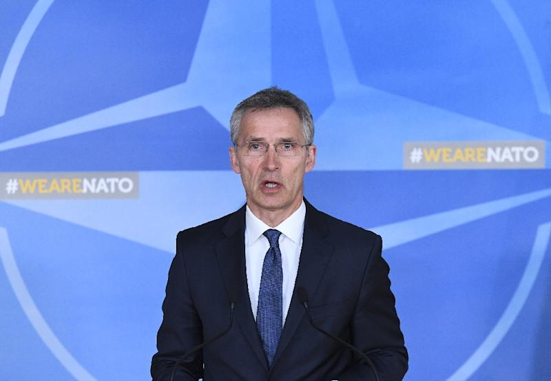 NATO General Secretary Jens Stoltenberg addresses a press conference following British, French and US strikes against Syria's regime at the NATO headquarters in Brussels on April 14, 2018