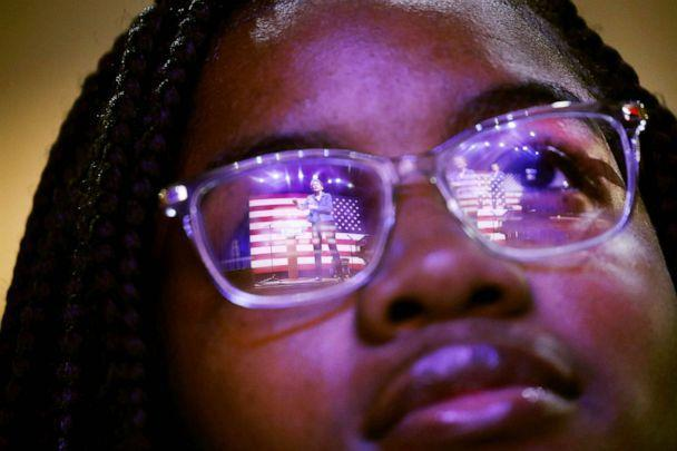 PHOTO: Democratic presidential candidate Senator Elizabeth Warren  is reflected in a student's glasses as she speaks at a Get Out the Vote Rally at South Carolina State University ahead of South Carolina's primary on February 26, 2020 in Orangeburg, S.C. (Spencer Platt/Getty Images)