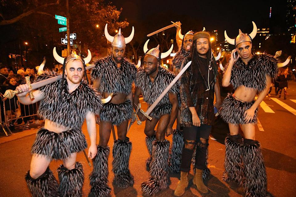 <p>A group of men dressed as Vikings pose for a photo at the 44th annual Village Halloween Parade in New York City on Tuesday, Oct. 31, 2017. (Photo: Gordon Donovan/Yahoo News) </p>