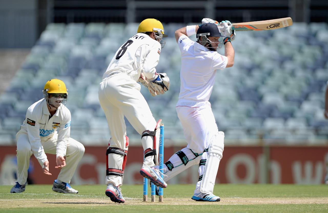PERTH, AUSTRALIA - NOVEMBER 02:  Ian Bell of England bats during day three of the Tour match between the Western Australia Chairman's XI and England at the WACA on November 2, 2013 in Perth, Australia.  (Photo by Gareth Copley/Getty Images)