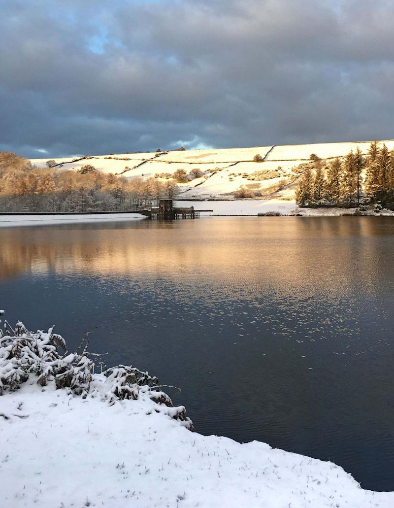 Snow in Cod Beck Reservoir in the North Yorkshire Moors National Park (PA)