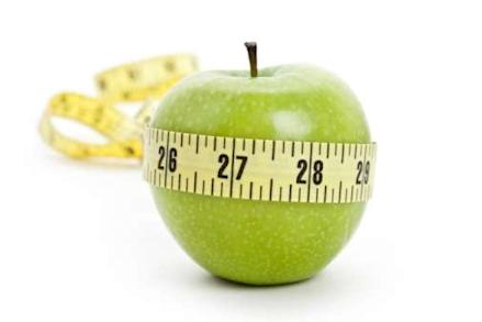 Apple with tape measure round