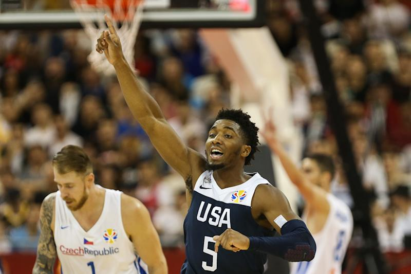 SHANGHAI, CHINA - SEPTEMBER 01: Donovan Mitchell of team USA reacts during the 1st round match between Czech Republic and USA of 2019 FIBA World Cup at Shanghai Oriental Sports Center on September 01, 2019 in Shanghai, China. (Photo by Yifan Ding/Getty Images)