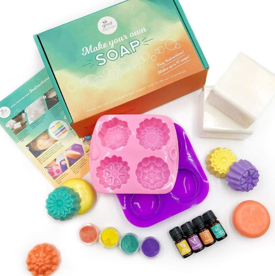 <p>They can make their own fancy soaps with the <span>DIY Soap Making Kit</span> ($33).</p>