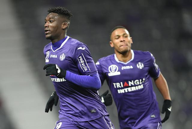 Soccer Football - Ligue 1 - Toulouse vs AS Monaco - Stadium Municipal de Toulouse, Toulouse, France - February 24, 2018 Toulouse's Yaya Sanogo celebrates scoring their third goal REUTERS/Fred Lancelot