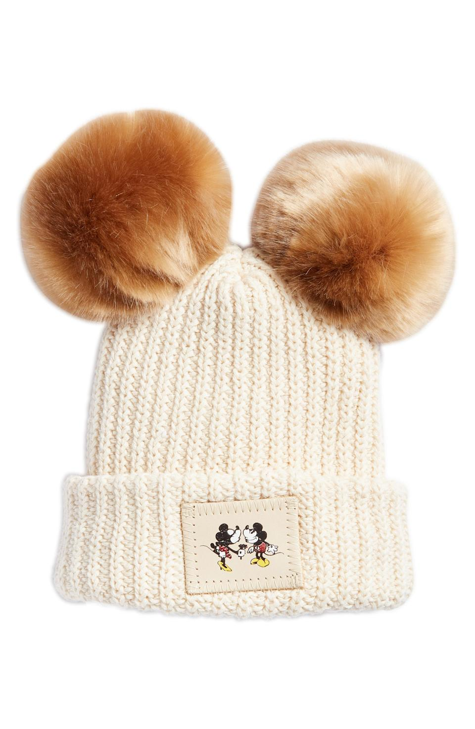 A Love Your Melon Disney double pom knit beanie at Nordstrom's pop-in.