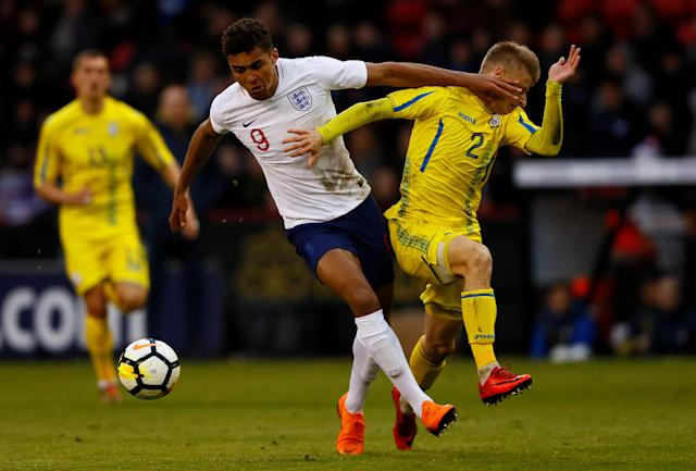 Soccer Football - European Under 21 Championship Qualifier - England vs Ukraine - Bramall Lane, Sheffield, Britain - March 27, 2018 England's Dominic Calvert-Lewin in action with Ukraine's Pavlo Lukyanchuk Action Images via Reuters/Jason Cairnduff
