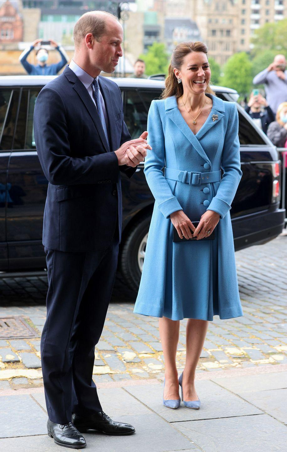 <p>For her final look on her final day in Scotland, the Duchess of Cambridge chose a chic powder blue Catherine Walker coat. The Duke even coordinated with his wife, sporting a blue tie and navy suit. </p>