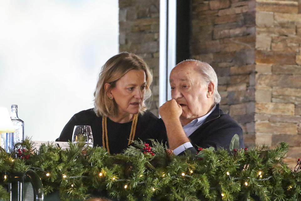 A CORUNA, SPAIN - DECEMBER 08:  Amancio Ortega and Flora Perez attend CSI Casas Novas Horse Jumping Competition on December 8, 2018 in A Coruna, Spain.  (Photo by Europa Press Entertainment/Europa Press via Getty Images)