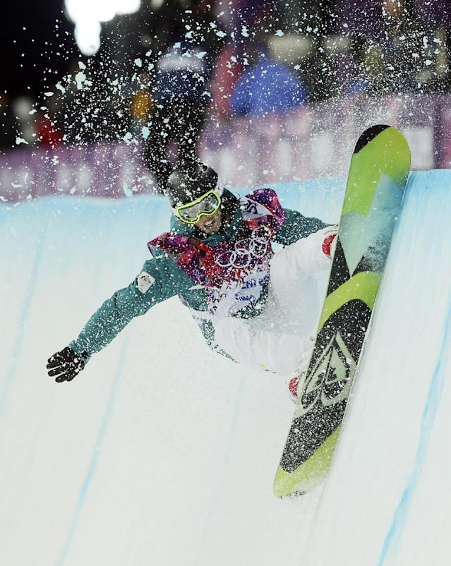 Australia's Torah Bright competes during the women's snowboard halfpipe final at the Rosa Khutor Extreme Park, at the 2014 Winter Olympics, Wednesday, Feb. 12, 2014, in Krasnaya Polyana, Russia. (AP Photo/Sergei Grits)
