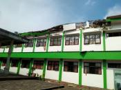 Damaged building affected by an earthquake is pictured in Malang