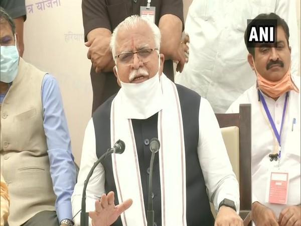 Haryana Chief Minister Manohar Lal Khattar speaking to reporters in Hisar on Tuesday.