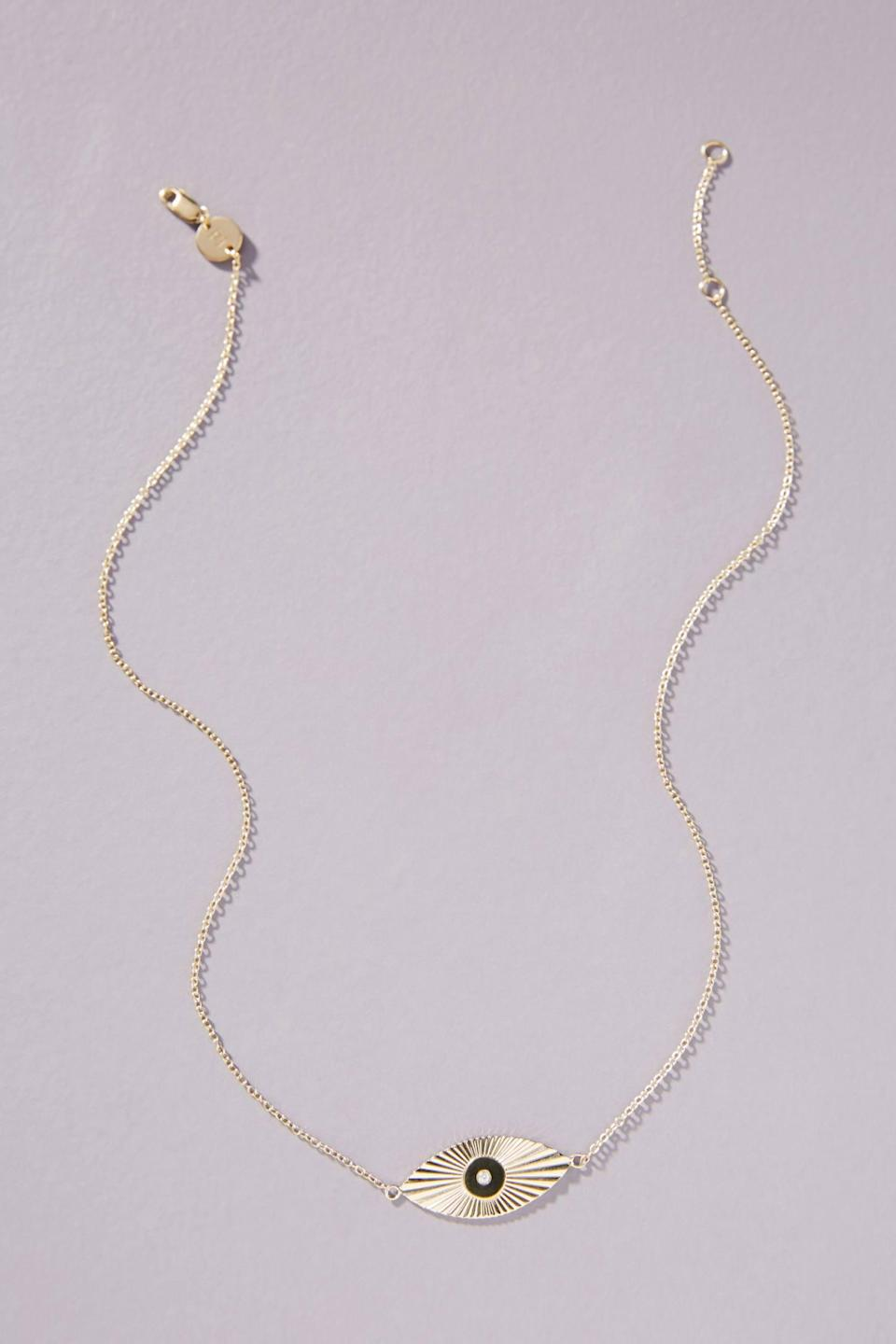 "<br> <br> <strong>Jennifer Zeuner</strong> Rafaella Spirit Eye Necklace, $, available at <a href=""https://go.skimresources.com/?id=30283X879131&url=https%3A%2F%2Fwww.anthropologie.com%2Fshop%2Fjennifer-zeuner-jewelry-rafaella-spirit-eye-necklace%3Fcategory%3DSEARCHRESULTS%26color%3D070"" rel=""nofollow noopener"" target=""_blank"" data-ylk=""slk:Anthropologie"" class=""link rapid-noclick-resp"">Anthropologie</a>"