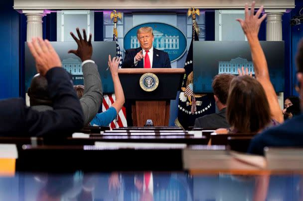 PHOTO: President Donald Trump speaks to the press in the Brady Briefing Room of the White House in Washington,on July 28, 2020. (Jim Watson/AFP via Getty Images)