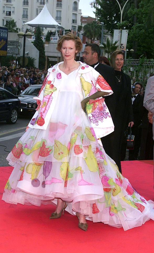 Tilda Swinton (in John Galliano for Dior) attends the 54th Annual Cannes Film Festival on May 20, 2001.