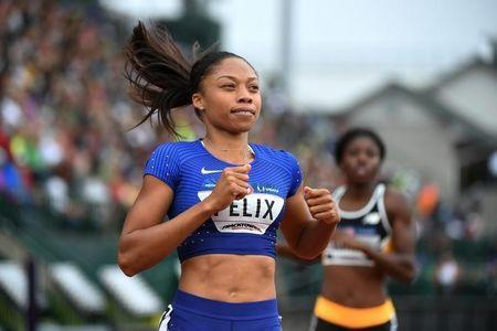 Jul 8, 2016; Eugene, OR, USA; Allyson Felix competes during the women's 200m first round heats in the 2016 U.S. Olympic track and field team trials at Hayward Field. Mandatory Credit: James Lang-USA TODAY Sports