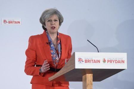 Britain's Prime Minister Theresa May speaks at the Conservative Party's Spring Forum in Cardiff, Wales