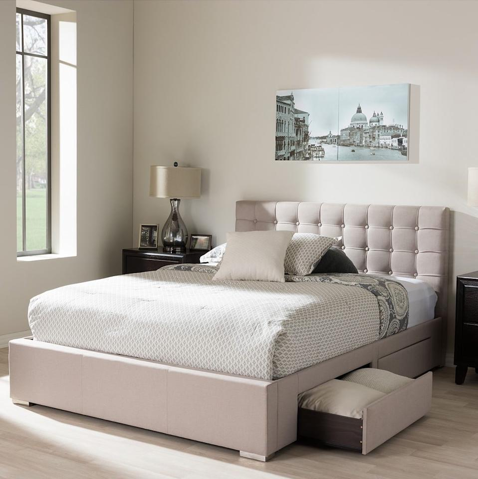 "<p>Revamp your bedroom with this <a href=""https://www.popsugar.com/buy/Furniture%20Rene%204-Drawer%20Queen%20Storage%20Platform%20Bed-474230?p_name=Furniture%20Rene%204-Drawer%20Queen%20Storage%20Platform%20Bed&retailer=macys.com&pid=474230&price=529&evar1=casa%3Aus&evar9=46442269&evar98=https%3A%2F%2Fwww.popsugar.com%2Fhome%2Fphoto-gallery%2F46442269%2Fimage%2F46442479%2FFurniture-Rene-4-Drawer-Queen-Storage-Platform-Bed&list1=shopping%2Cfurniture%2Cbeds%2Cbedrooms%2Csmall%20space%20living%2Chome%20shopping&prop13=mobile&pdata=1"" rel=""nofollow"" data-shoppable-link=""1"" target=""_blank"" class=""ga-track"" data-ga-category=""Related"" data-ga-label=""https://www.macys.com/shop/product/rene-4-drawer-queen-storage-platform-bed-quick-ship?ID=4827693&amp;CategoryID=35420#fn=BED_STYLE%3DStorage%26sp%3D1%26spc%3D4871%26ruleId%3D78%7CBOOST%20ATTRIBUTE%7CBOOST%20SAVED%20SET%26searchPass%3DmatchNone%26slotId%3D58"" data-ga-action=""In-Line Links"">Furniture Rene 4-Drawer Queen Storage Platform Bed</a> ($529, originally $979).</p>"