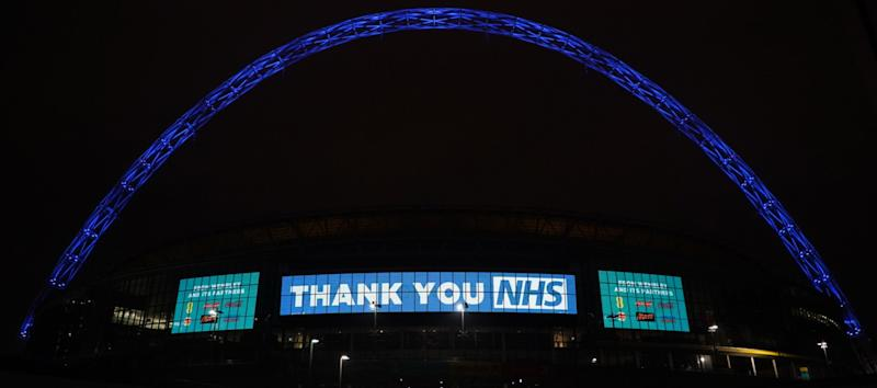 Wembley will be one of many UK landmarks turned blue at 8pm tonight to celebrate the heroes of the National Health Service