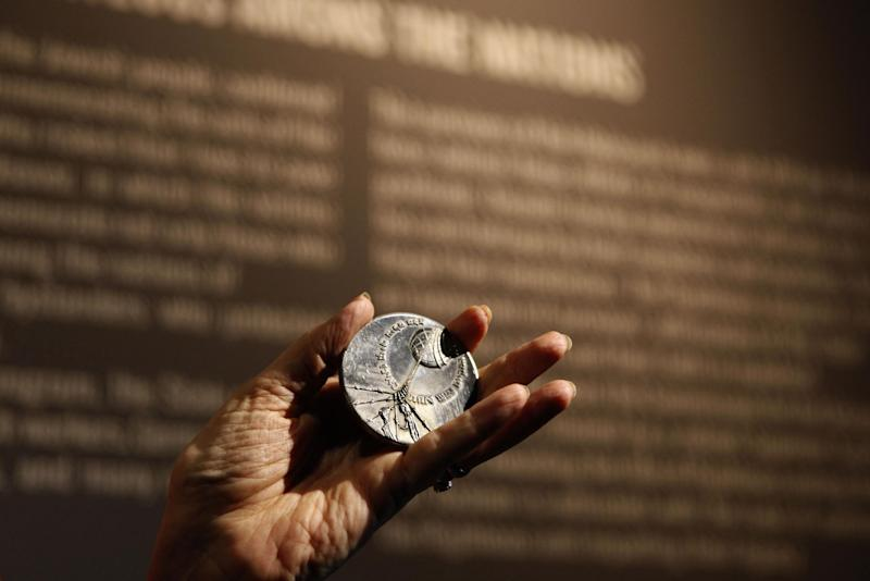The Righteous Among the Nations medal, which is given to non-Jews who stood up to the Nazi genocide during the Holocaust (AFP Photo/Gali Tibbon)