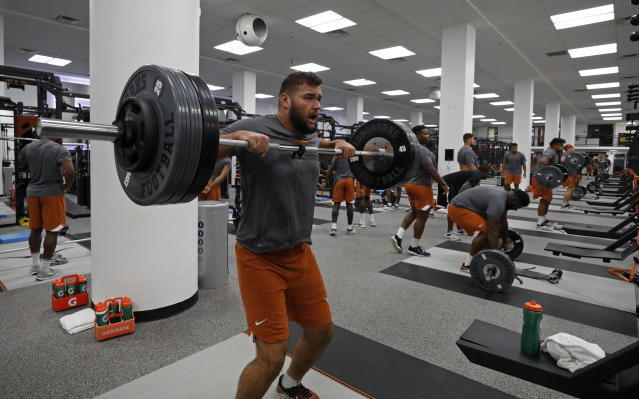 Texas Longhorns' Samuel Cosmi works out Wednesday Sept. 4, 2019 in Austin, Tx. ( Photo by Edward A. Ornelas )